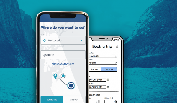 mobile mockup og wireframe av mobil booking app
